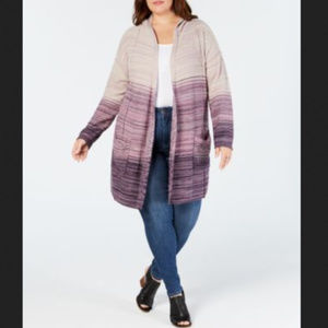Style Co 2X Purple Ombre Hooded Cardigan New C3-05